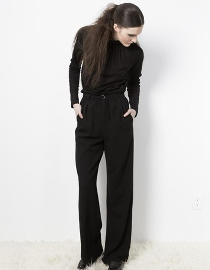 Anderst Morla Finna Raglan Mock Neck Top Style# 0215 black rayon matte jersey, Ava Wideleg Pants Style# 0311 black lightweight wool, pleated elastic waist