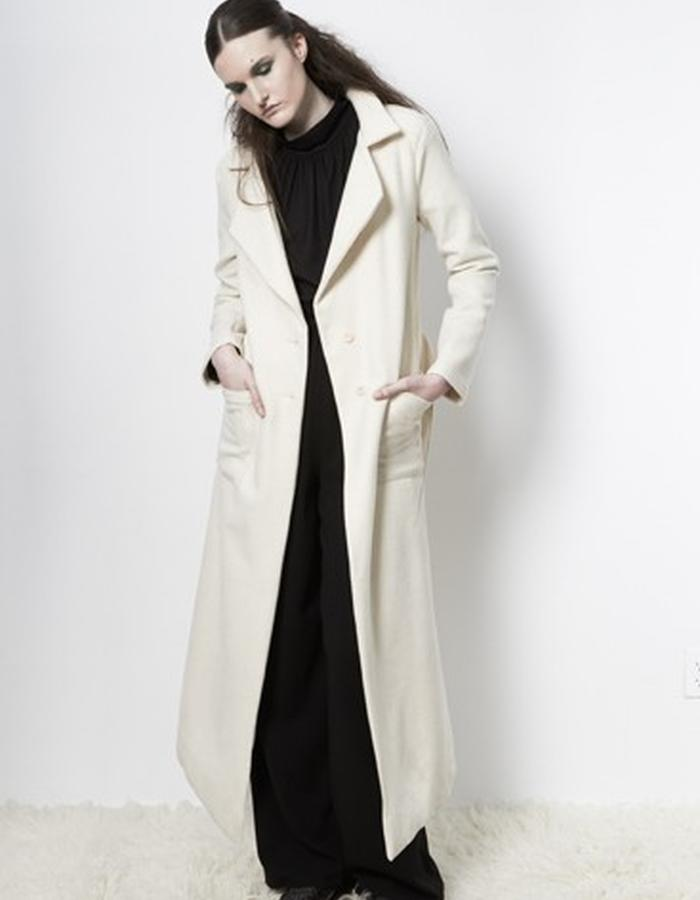 Anderst Morla Tilda Coat Style# 0606 white wool, calf length