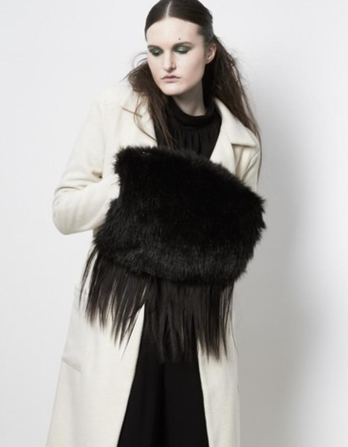 Anderst Morla Tilda Coat Style#0606 white wool, Orsa Faux Fur Muff Bag Style# 0705 with human hair fringe