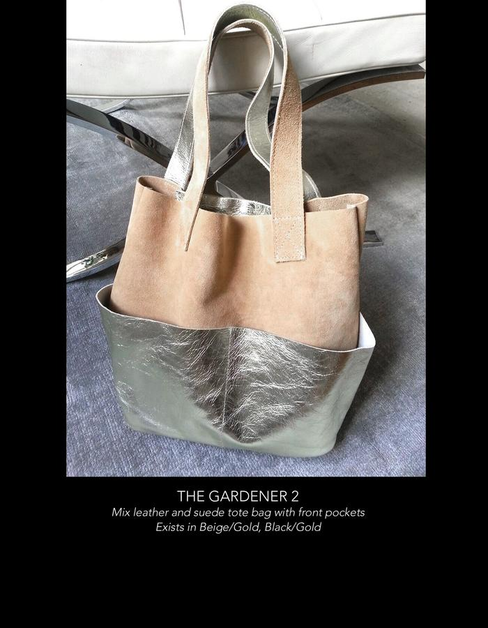 THE GARDENER MIDI: Suede &Gold metal leather