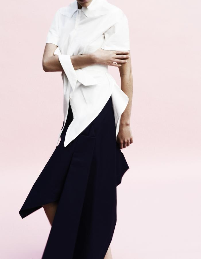 YOJIRO KAKE SS Origami classic shirt 100% Cotton, ribbon belt 100% Cotton, peacock skirt 100% Cotton
