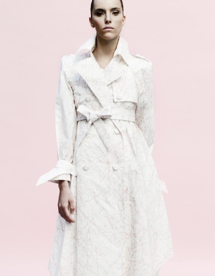 YOJIRO KAKE  SS Origami trench coat with original printing 100% Cotton