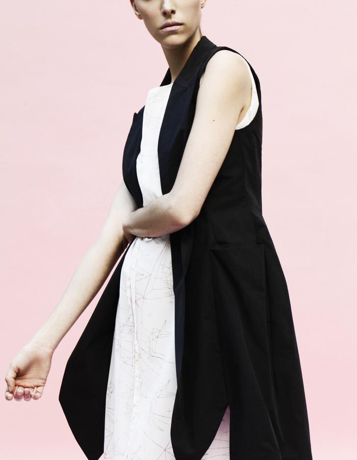 YOJIRO KAKE  SS Origami sleeveless long jacket 100& Cotton, one piece dress 100% Cotton
