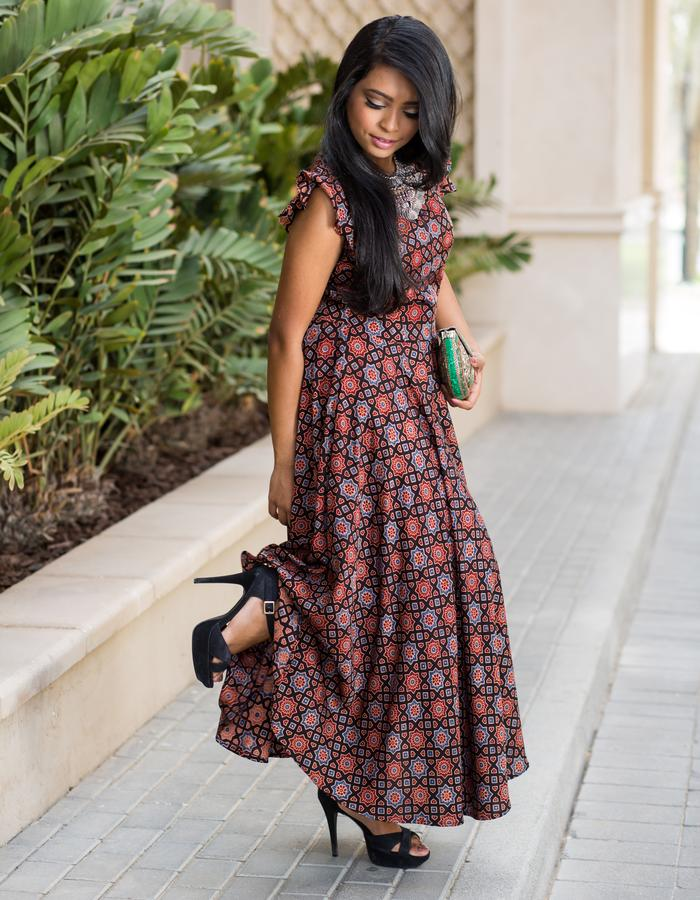 Ankle length hand-block print dress