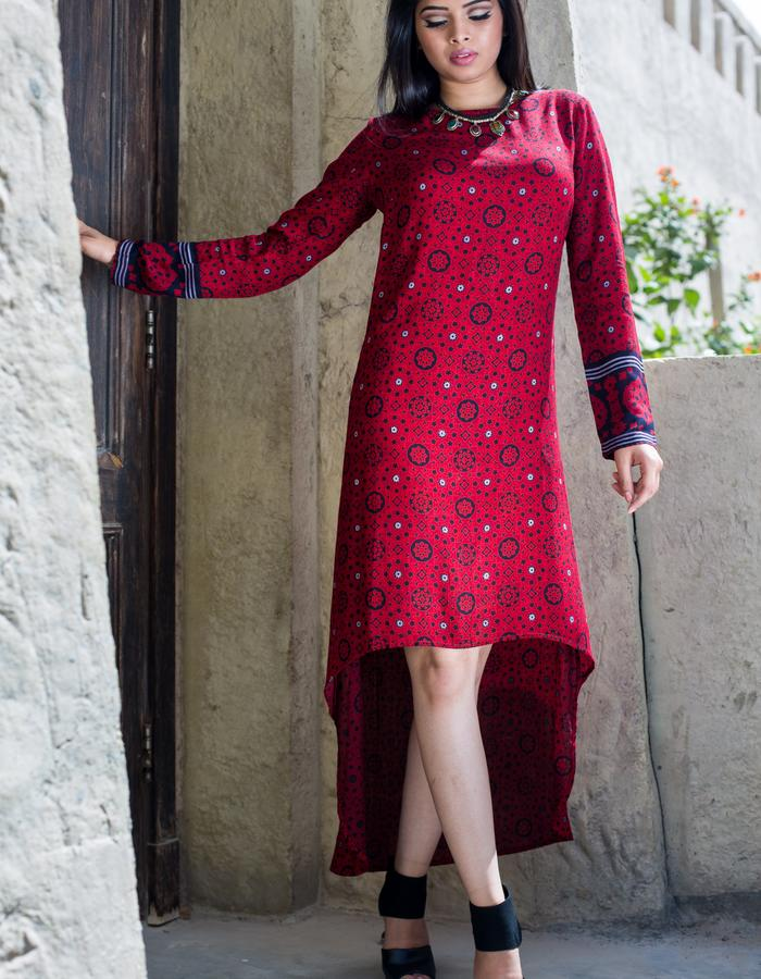 High-low red hand-blocked cotton dress