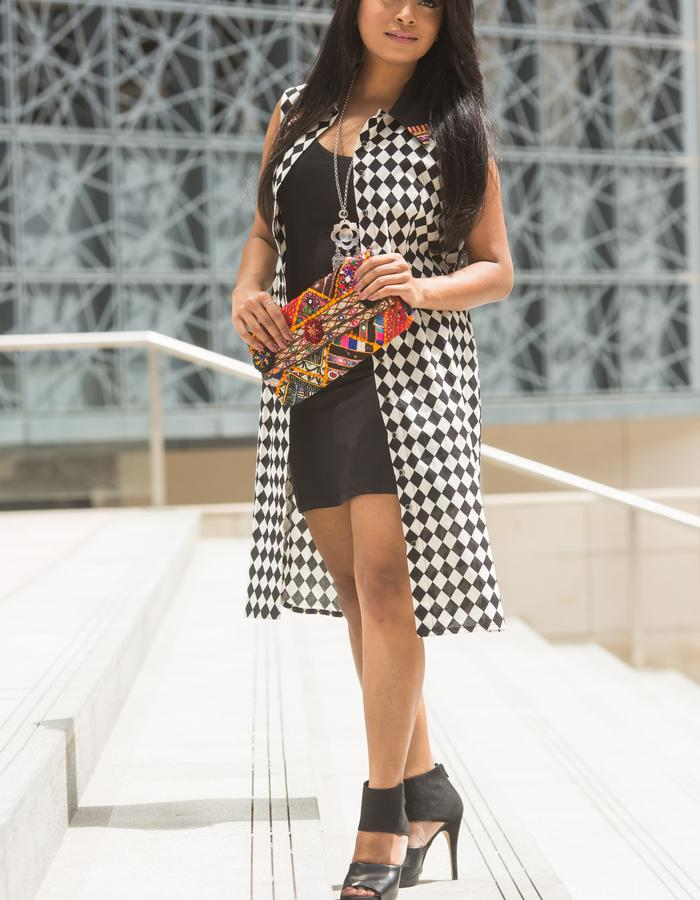 Checkered collar shirt dress with embroidery