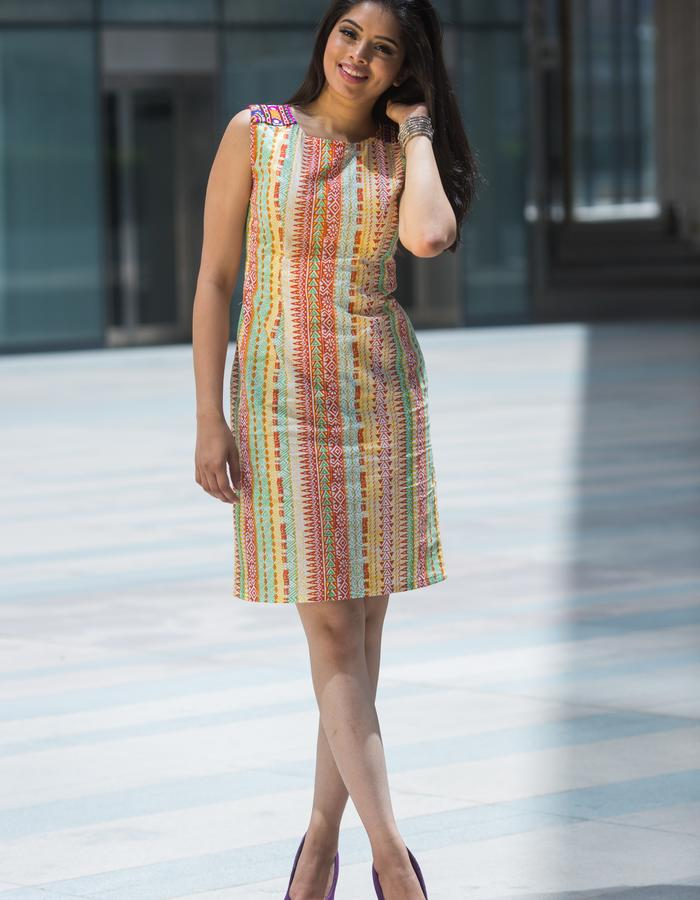 embroidery shoulder patch shift dress short