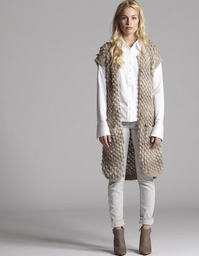 callina hand knit sustainable knitwear vest