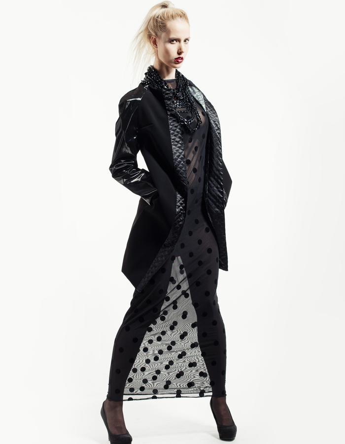 polka dots, body con dress, shinny coat, black