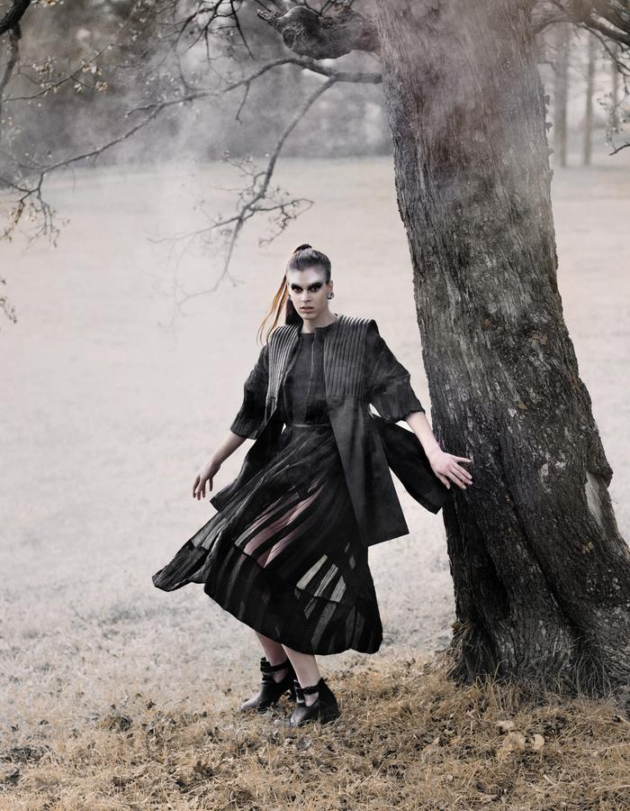 plisse coat, spomenik, leather vest, quilted leather