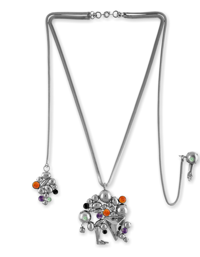 RICH BODIED NECKLACE WITH PIN PENDANT PALLADIUM PLATED