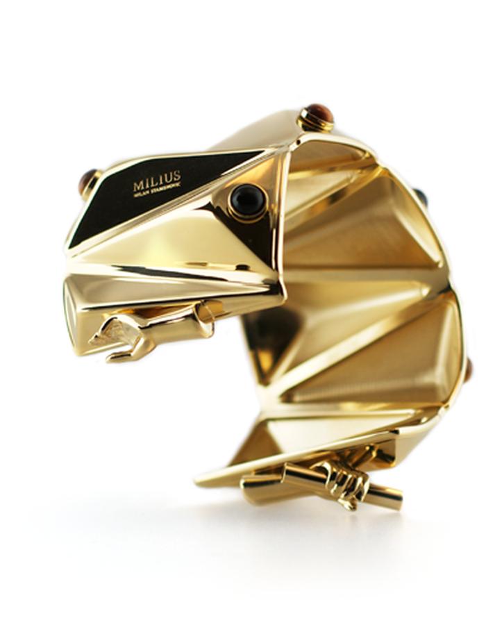 WIDE CUFF DRUM BRACELET GOLD PLATED