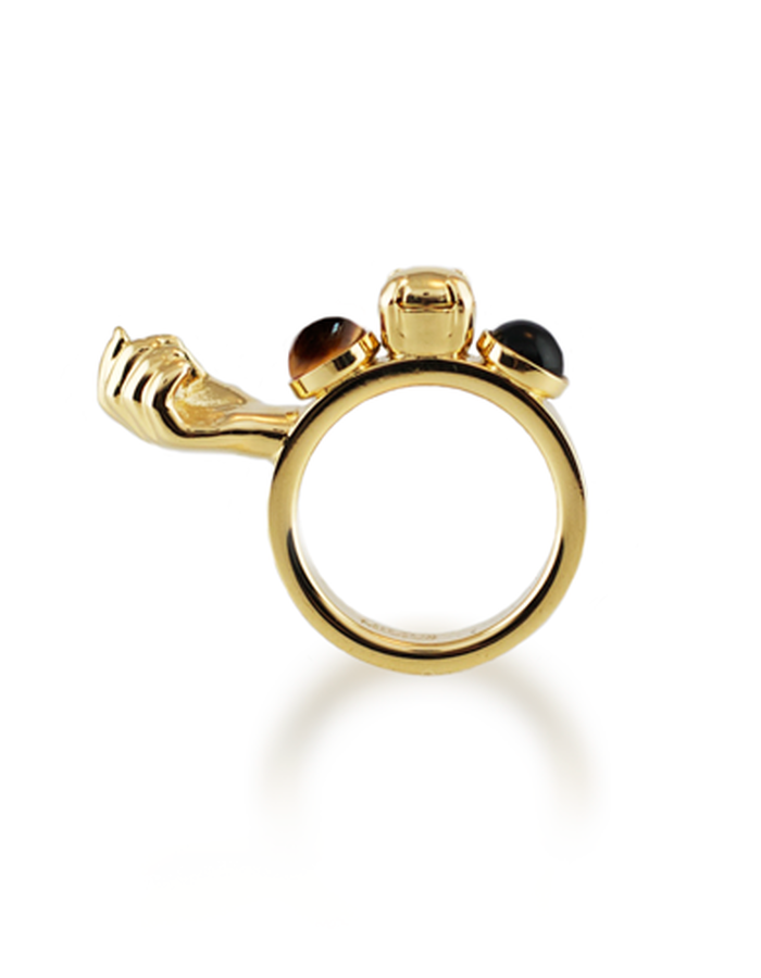 ONE HANDED RING GOLD PLATED