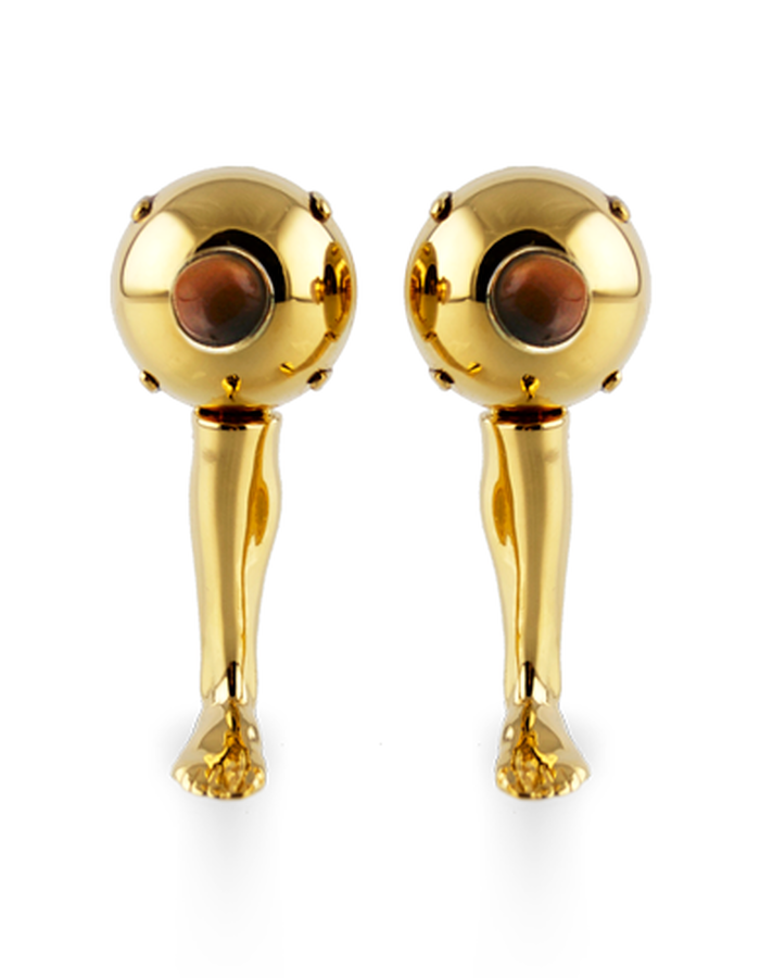 STAND UP PIN EARRING GOLD PLATED