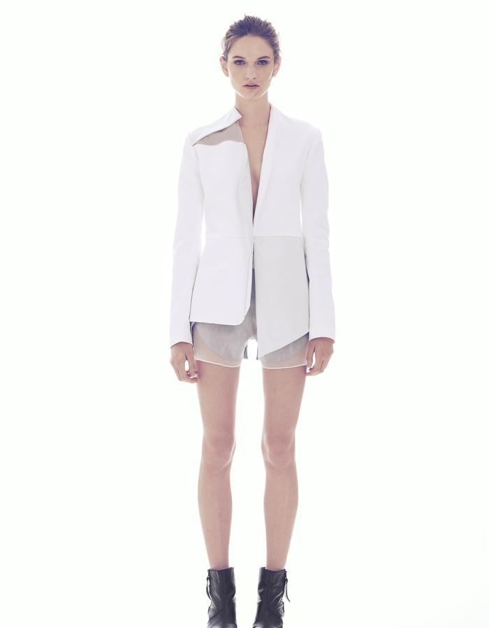 V- NECK JACKET  WITH ASYMETRIC LAPEL/ COTTON LINEN-LEATHER