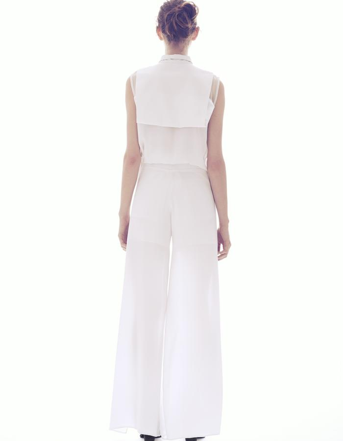 WRAP JUMPSUIT/ SILK CHARMEUSE -SILK ORGANZA AND LEATHER