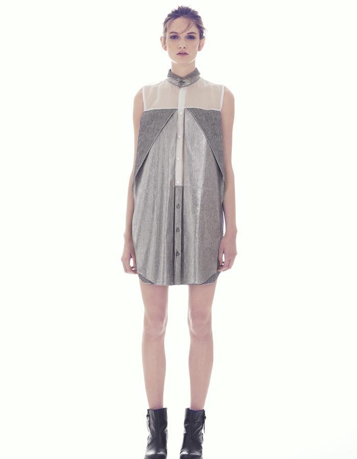 SILVER SLEEVELESS SHIFT DRESS/ LINEN -ORGANZA