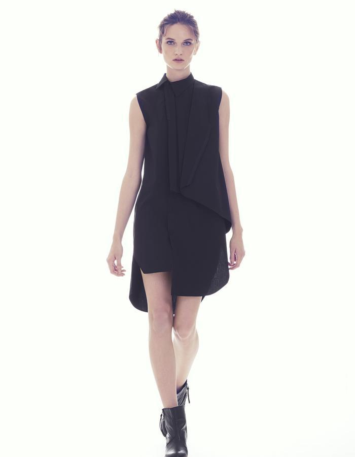 ASYMETRIC BUTTON DOWN SHIRT DRESS SIDE FOLD W/ LAPEL/ COTTON POPLIN