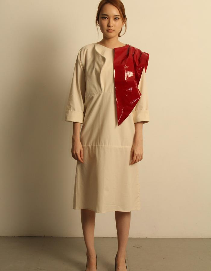 Organic Cotton Dress with red patent leather folder-over.