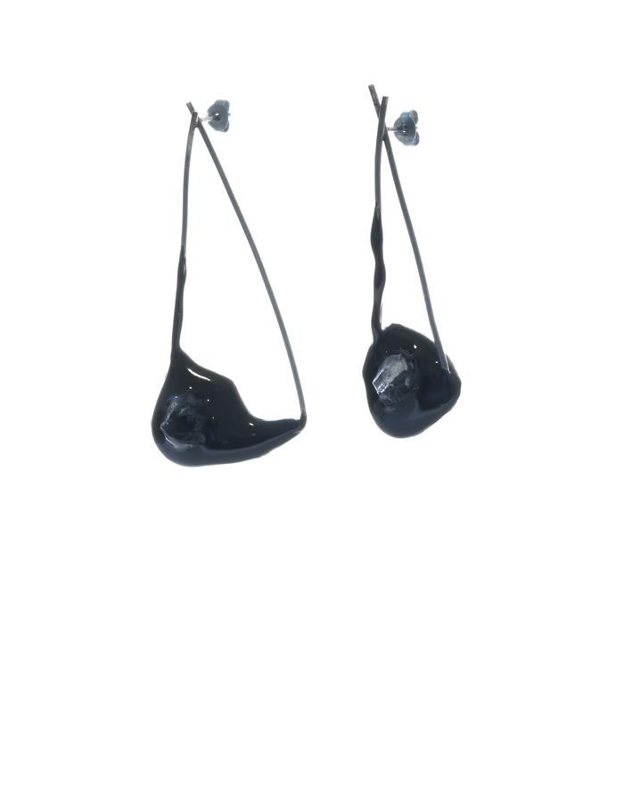 Excess of time, earrings, silver oxidized, quartz, pigment, resin, Izabella Petrut
