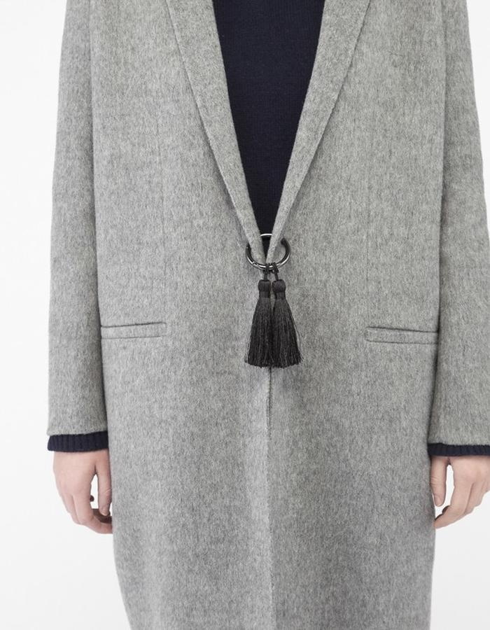 Mute by JL cocoon coat grey ring & tassels JL002A