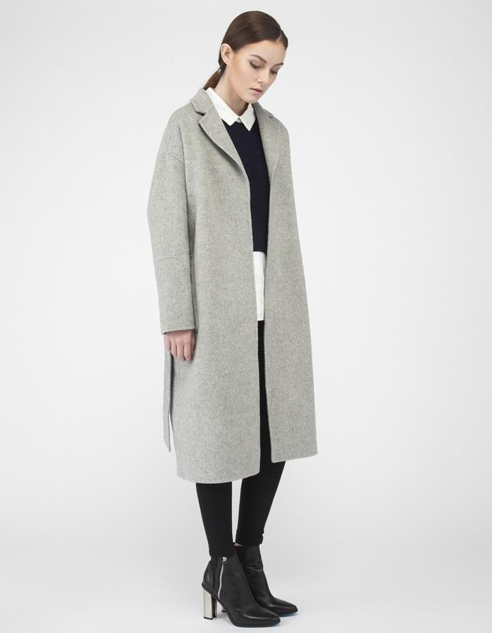 Mute by JL cashmere over sized cocoon coat light gray JL004