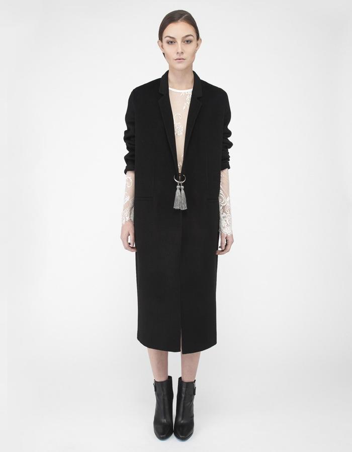 Mute by JL cocoon coat black ring & tassels JL002B