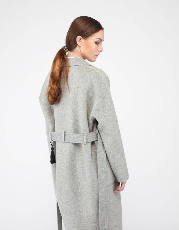 Mute by JL cashmere over sized cocoon coat light gray tassel detail JL004