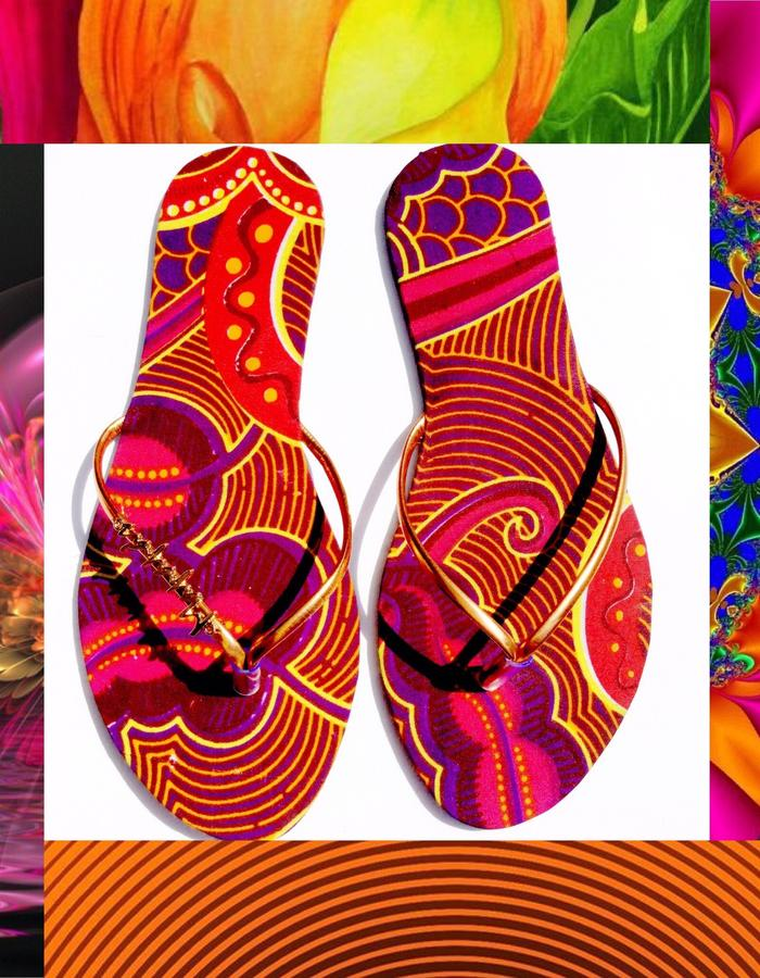 Strappy Handmade flipflops in african wax prints
