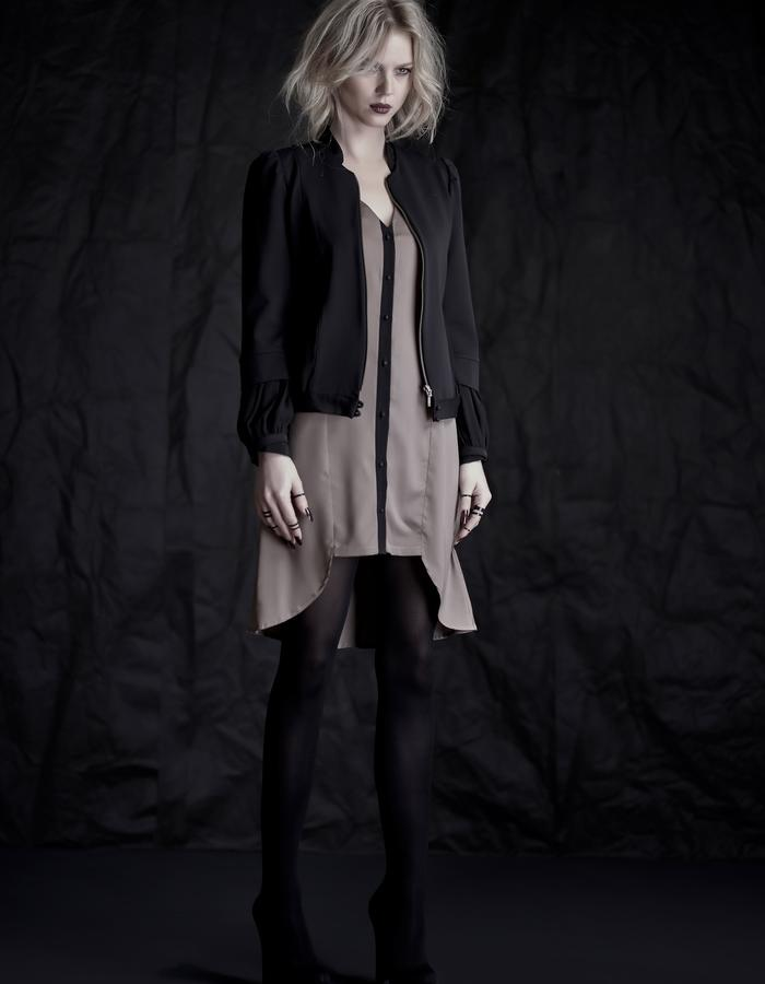 Martinet Noir open JACKET & gray button DRESS