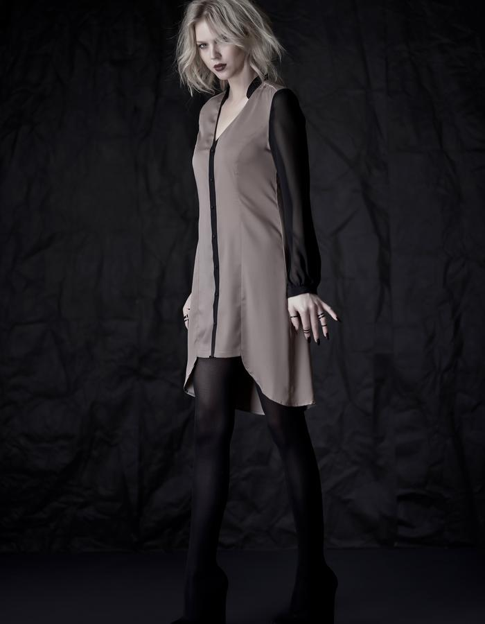 Martinet Noir gray button DRESS