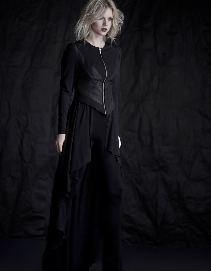 Martinet Noir custom made JACKET with chiffon cape