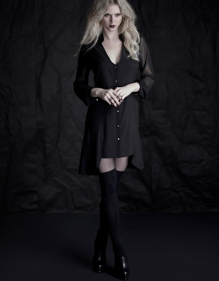 Martinet Noir  black BUTTON DRESS