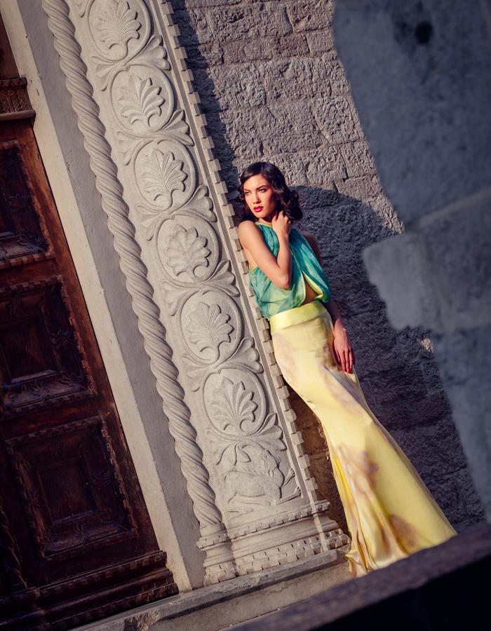 Long elegant silk skirt