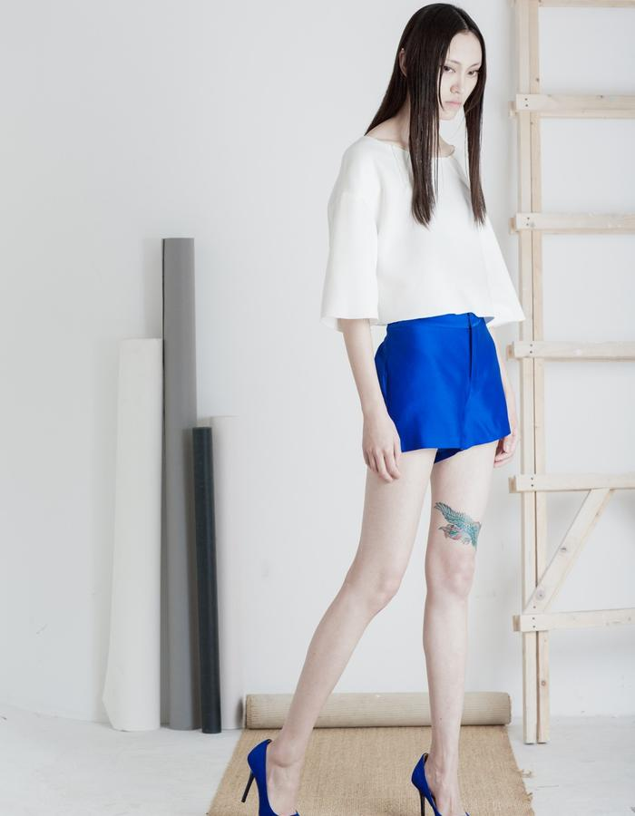 Mute by JL 2015 Spring royal blue silk shouts