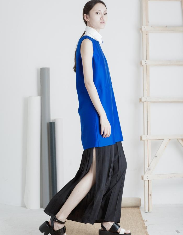 Mute by JL 2015 Spring royal blue silk dress