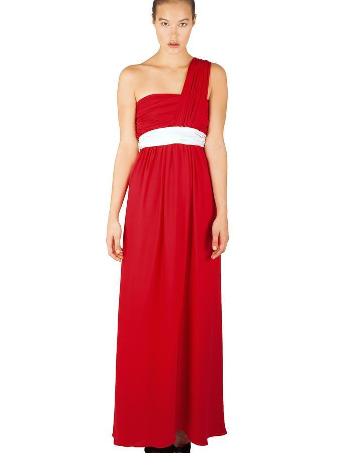 RUBIN RED PLEATED SILK DOUBLE GEORGETTE FLOOR LENGTH DRESS