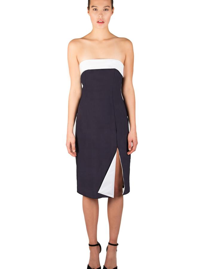 STRAPLESS COTTON PENCIL DRESS