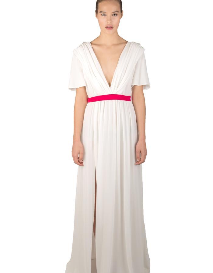 IVORY PLEATED SILK GEORGETTE FLOOR LENGTH DRESS