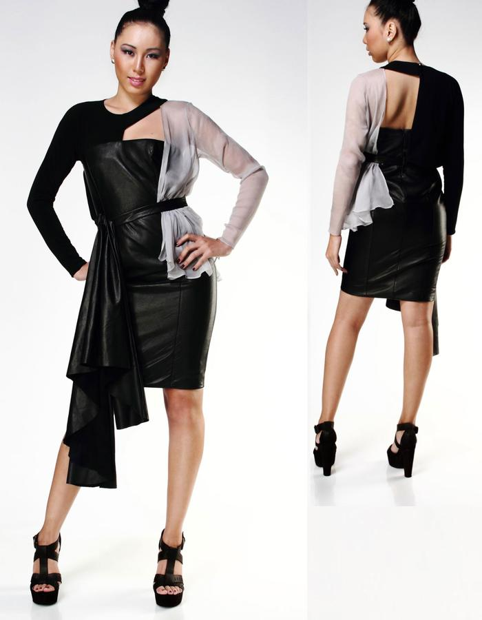 Structured Leather Dress,MP-04