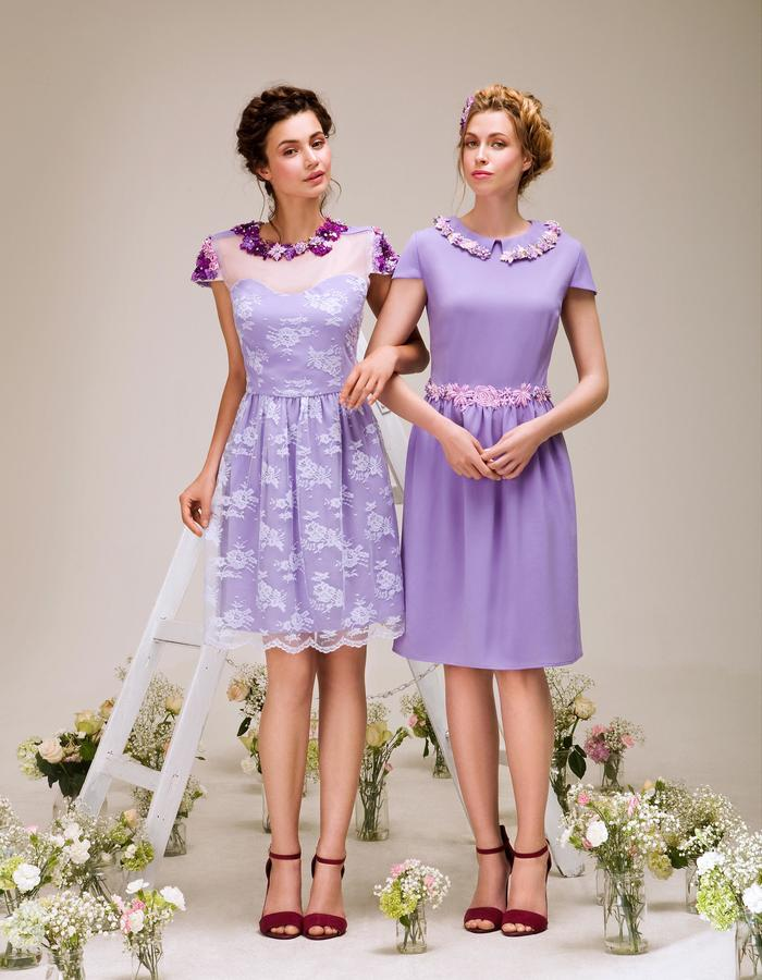 Lilac lace couture embellished with flowers and Swarovski crystals cocktail dress, made in London
