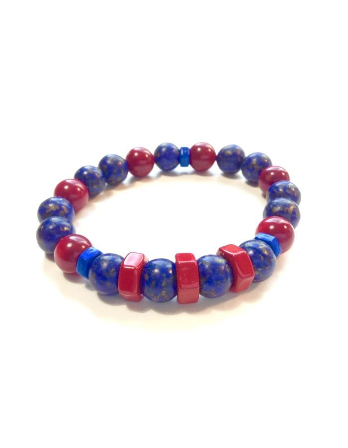 MB-201 Blue Stone, Red Coral & Metals - 9mm Stones