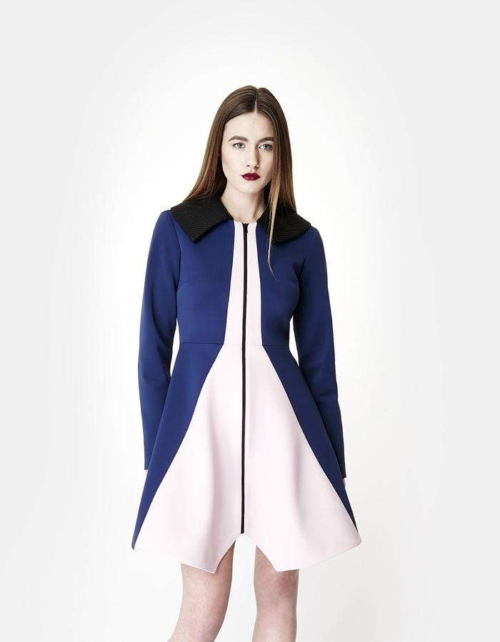 Sarah Bond Bo Bardi Navy Pink Neoprene Knee Length Coat