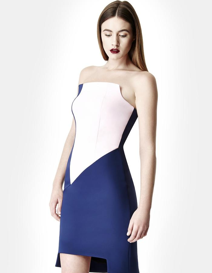 Sarah Bond Perriand Navy Pink Neoprene Knee Length Dress