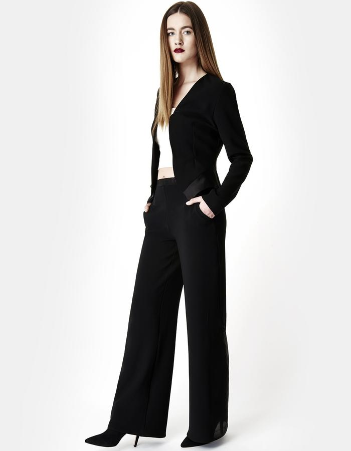 Sarah Bond Black Silk Organza and Crepe Blazer with Trousers