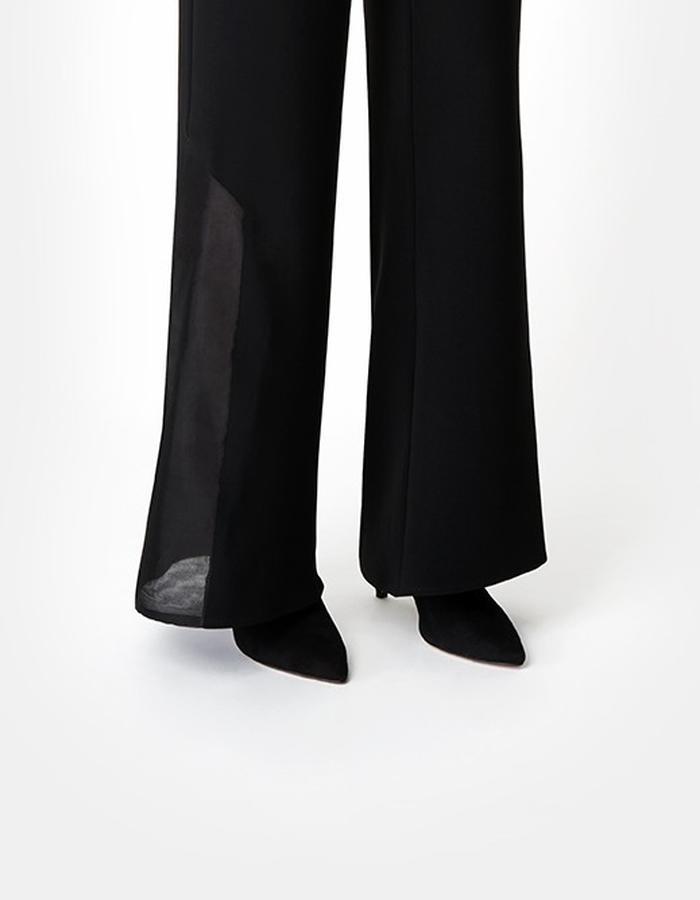 Sarah Bond Black Silk Organza and Crepe Trousers Close Up