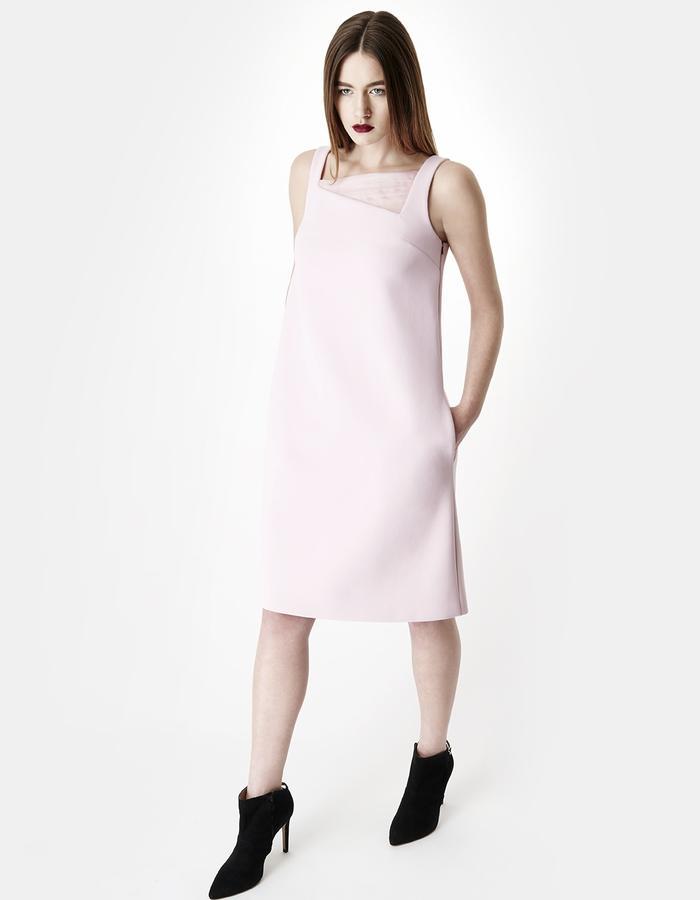SARAH BOND LOLA PASTEL PINK SILK ORGANZA NEOPRENE KNEE LENGTH DRESS