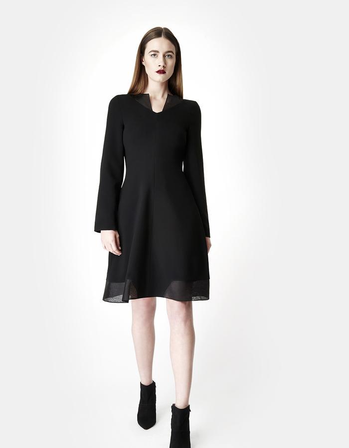 SARAH BOND VALENTINA BLACK SILK ORGANZA CREPE KNEE LENGTH DRESS