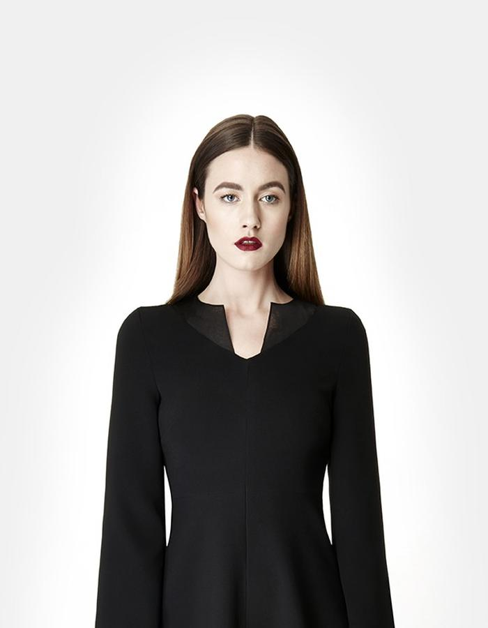 SARAH BOND_VALENTINA_BLACK_SILK ORGANZA CREPE KNEE LENGTH DRESS CLOSE UP
