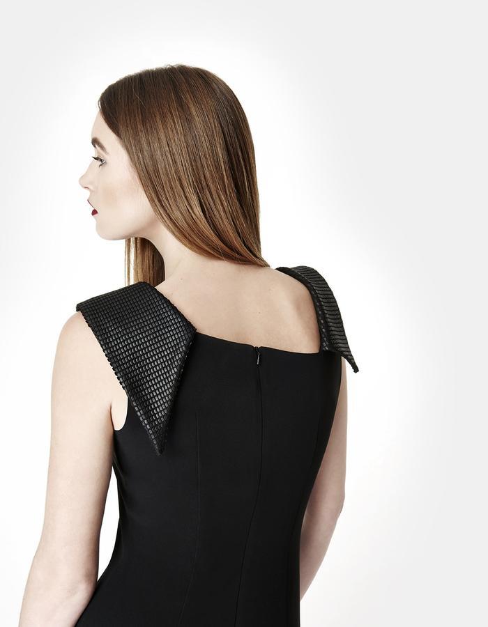 Sarah Bond Victoria Black Crepe Knee Length Dress Back View
